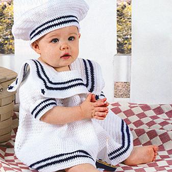 ePattern Li'l Sailor Dress Set to Crochet