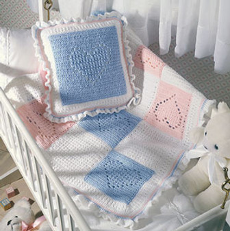 ePattern Nursery Hearts Afghan and Pillow