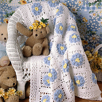 ePattern Blossoming Baby Afghan