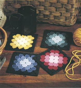 ePattern Granny Square Coasters in Plastic Canvas