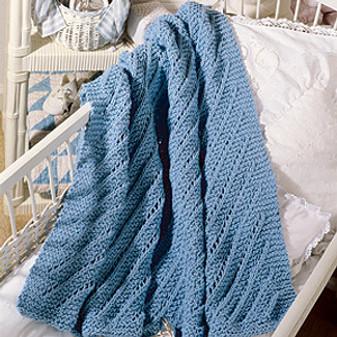 ePattern Diagonal Lace Baby Afghan