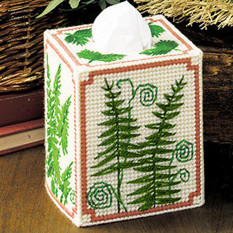 ePattern Ferns Tissue Box Cover Plastic Canvas