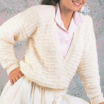 ePattern V Neck Dash Stitch Pullover