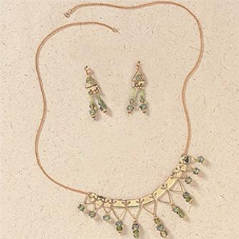 ePattern Brass Hanger Necklace & Earrings