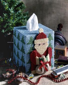 ePattern Folksy Santa Tissue Box Cover
