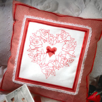 "ePattern Romantic ""Redwork"" Pillow"