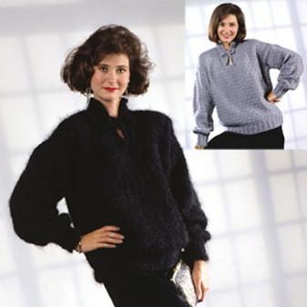 ePattern Tied Slit Neck Pullover