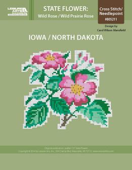 ePattern State Flowers: Iowa and North Dakota Wild Prairie Rose