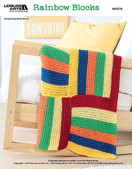 Rainbow blocks loom knit baby afghan epattern