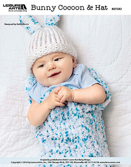 Bunny cocoon and hat loom knit baby ePattern