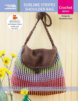 A captivating double-layer color pattern distinguishes the Sublime Stripes Shoulder Bag by Italian designer Nicoletta Tronci of NTmaglia Crochet Design.