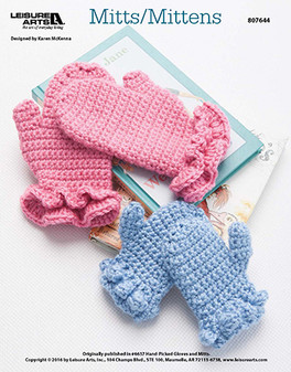 Keep your hands warm on the cooler days of the year with crochet mitts and mittens. Designed by Karen McKenna.