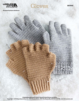 Crocheted gloves for the cooler days of the year. Designed by Karen McKenna.