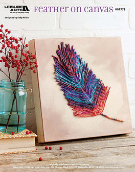 Unique yet simple, fly away into your crafting closet and get ready to make this darling feather design on canvas with your favorite yarn. Designed by Kelly Reider.