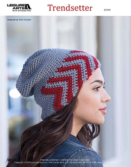 Set yourself up for style success with a crochet slouch hat, affectionately called the Trendsetter. Designed by Kristi Simpson and crocheted using medium weight yarn and Easy or Easy-Plus skill Level .