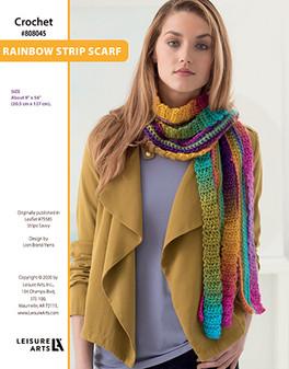 Rainbow Strip Scarf Crochet ePattern originally published in Leaflet #75585 Stripe Savvy design by Lion Brand Yarns.
