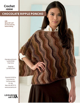 Chocolate Rippled Poncho Crochet ePattern originally published in Leaflet #75585 Stripe Savvy design by Lion Brand Yarns.