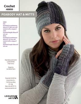 Peabody Hat & Mitts Crochet ePattern originally published in Leaflet #75585 Stripe Savvy design by Lion Brand Yarns.