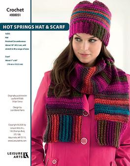 Hot Springs Hat & Scarf Crochet ePattern originally published in Leaflet #75585 Stripe Savvy design by Lion Brand Yarns.