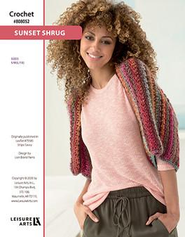 Sunset Shrug Crochet ePattern originally published in Leaflet #75585 Stripe Savvy design by Lion Brand Yarns.