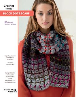 Block Dots Scarf ePattern originally published in Leaflet #75585 Stripe Savvy design by Lion Brand Yarns.