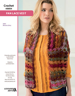 Fan Lace Vest Crochet ePattern originally published in Leaflet #75585 Stripe Savvy design by Lion Brand Yarns.