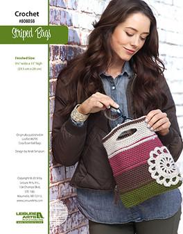 Striped and stylish crochet bag patterns by Kristi Simpson.