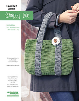 Easy to accessorize with and make, this darling tote bag topped off with a flower button will be your new favorite outing essential. Designed by Kristi Simpson.