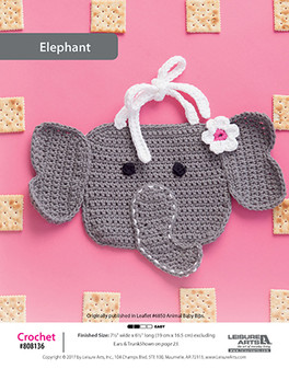 Watch baby eat happily with their soft crochet elephant bib pattern.