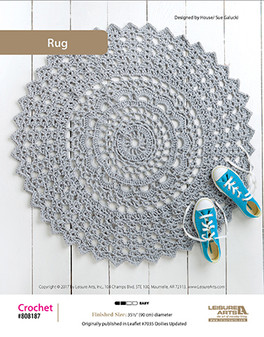 Whether at the door or around the house, this simple yet modern crochet rug can fit in with any type of home decor ideas. Designed by Sue Galucki.