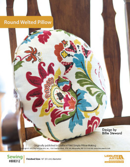 Round and rich in color, this welted pillow sewing pattern will fit perfectly on any comfy surface. Designed by Billie Steward.