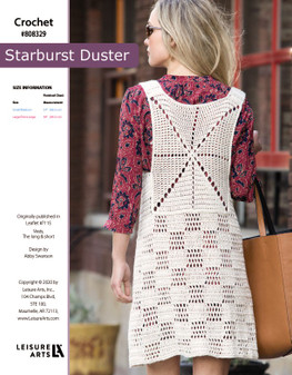 "Starburst Duster Crochet ePattern, originally published in Leaflet #7115 Vests, The Long & Short. Finished Chest Size: small/medium 34"" (86.5 cm) Large/Extra Large: 38"" (96.5 cm)"