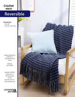 """Reversible Crochet Afghan ePattern, originally published in Leaflet #7119 Cotton Blankets and Throws. Finished Size: 44"""" x 58"""" (112 cm x 147.5 cm)"""