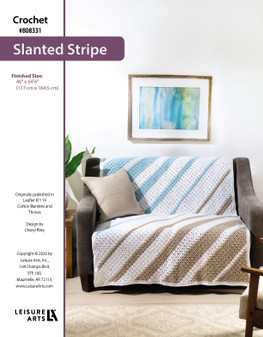 """Slanted Stripe Crochet Afghan ePattern, originally published in Leaflet #7119 Cotton Blankets and Throws. Finished Size: 46"""" x 64 3/4"""" (117 cm x 164.5 cm)"""
