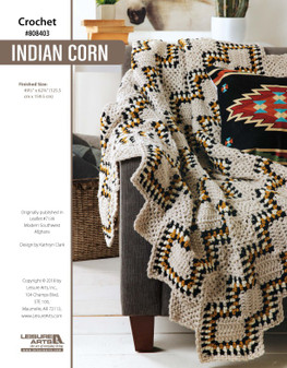 """Add a pop of color to any room with this Indian Corn crocheted afghan! Finished size is approximately 49.5""""x 62.75""""."""
