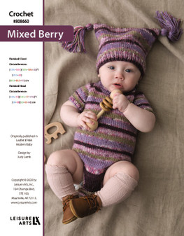 Mixed Berry Crochet ePattern originally published in leaflet #7484 Modern Baby, design by Judy Lamb.