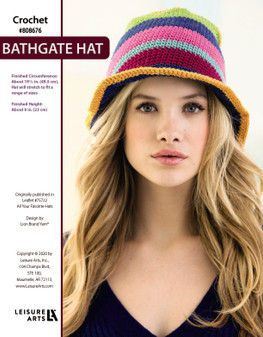 Bathgate Hat Crochet ePattern, originally published in Leaflet #75722 All Your Favorite Hats. Finished Circumference: About 191/2 in. (49.5 cm), Hat will stretch to fit a range of sizes.