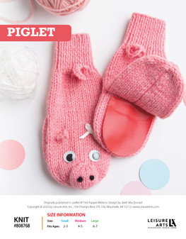 Piglet Knit ePattern, originally published in Leaflet #7744 Puppet Mittens, design by Beth MacDonald.
