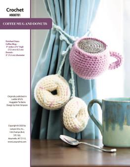 Coffee Mug and Donuts ePattern, originally published in Leaflet #7676 Huggable Tie Backs, design by Kristi Simpson.