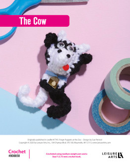 The Cow Crochet ePattern, originally published in Leaflet #7745 Finger Puppets at the Zoo.