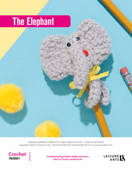 The Elephant Crochet ePattern, originally published in Leaflet #7745 Finger Puppets at the Zoo.