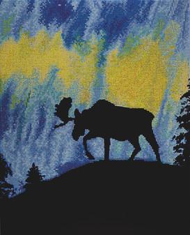 "Diamond Art Kit 16""x 20"" Sparkle Advanced Aurora Moose"