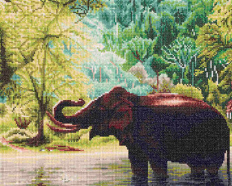 """Diamond Art Kit 16""""x 20"""" Sparkle Advanced Elephant Water"""