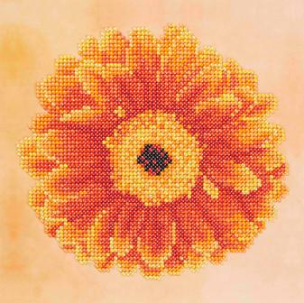"""Diamond Art Kit 8""""x 8"""" Sparkle Beginner Orange Flower"""