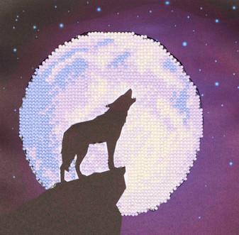 """Diamond Art Kit 8""""x 8"""" Beginner Wolf Moon"""