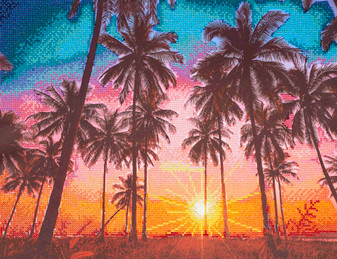 "Diamond Art Kit 20"" x 16"" Advanced Palm Sunset"