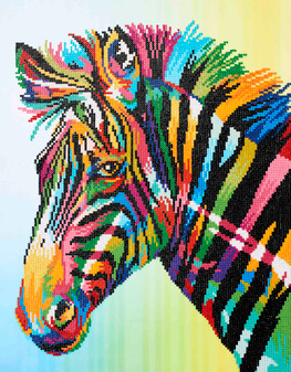 "Diamond Art Kit 16""x 20"" Advanced Colorful Zebra"