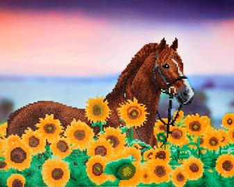 "Diamond Art Kit 20""x 16"" Advanced Sunflower Horse"