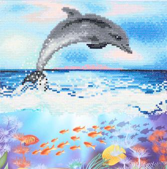 "Diamond Art Kit 12""x 12"" Intermediate Dolphin"