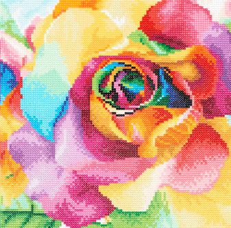 "Diamond Art Kit 12""x 12"" Intermediate Rainbow Roses"